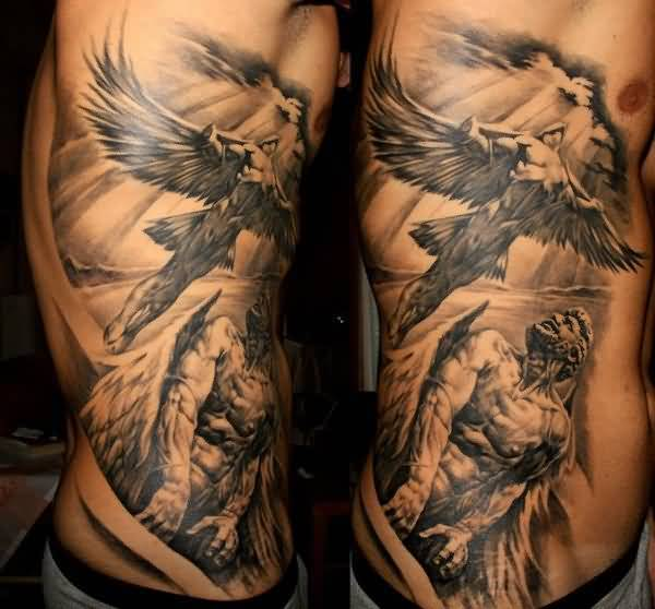 incredible black color ink Angel Tattoos on boy 's ribs side made by expert artist for boys only