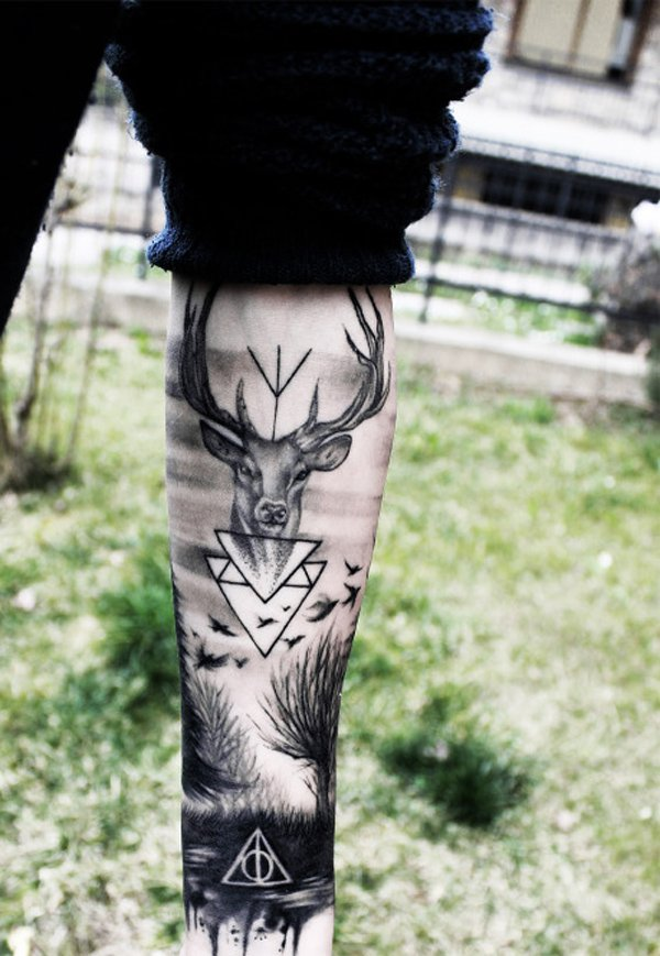 incredible forest with deer tattoo on wrist With Black ink For Man And Woman