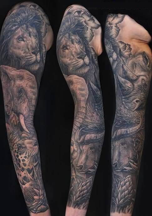 Incredible Gray Color Ink African Animal Tattoo For Man