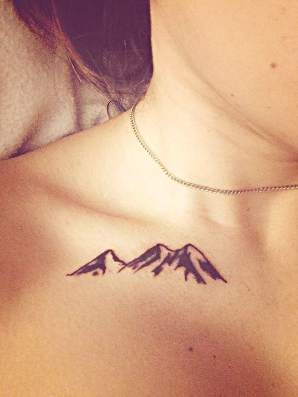 incredible mountain tattoo on chest With Black ink For Man And Woman