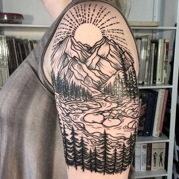 incredible mountain tattoo on half sleeve With Black ink For Man And Woman
