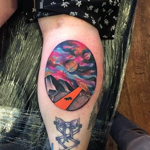 innovative red and blue coloe ink Universe And Ufo Tattoo for boys