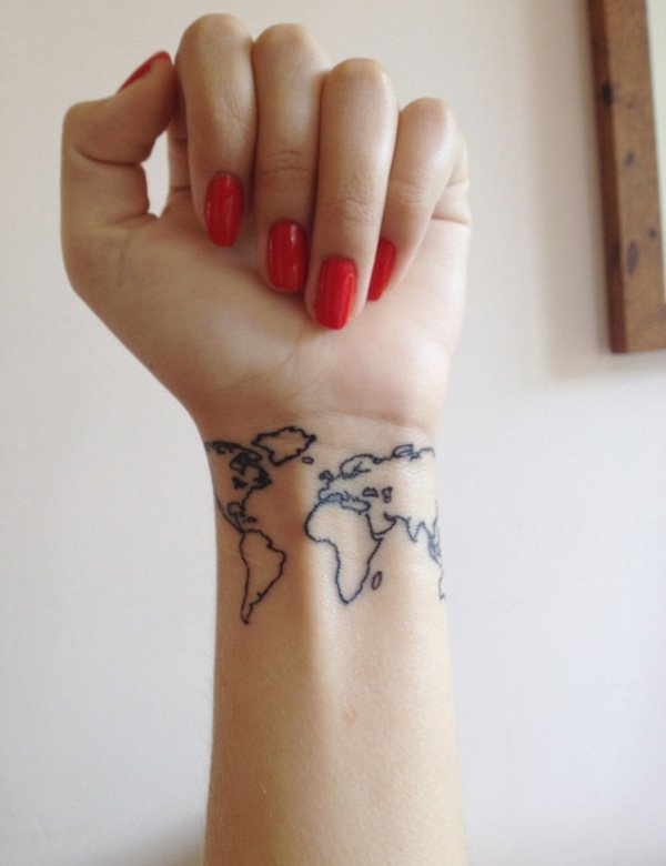 Inspirational World Map Wrist Tattoo With Blank Ink For Man Woman