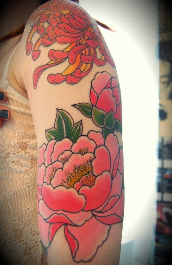inspirational Peony tattoo on arm With colourful ink For Man And Woman