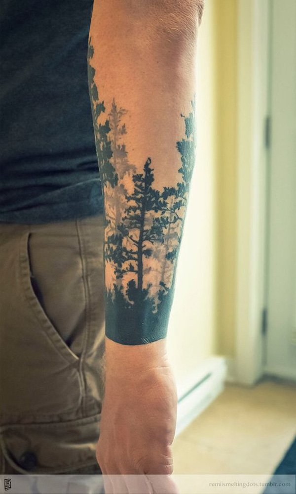 inspirational forest sleeve tattoo on wrist With Black ink For Man And Woman