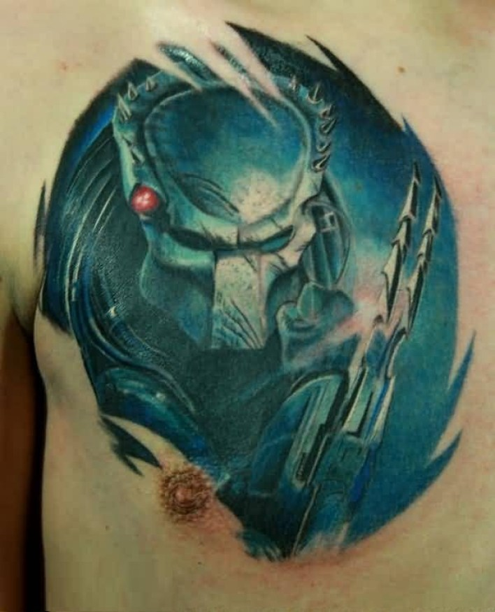Inspiring Blue Color Ink Alien Tattoo On Chest