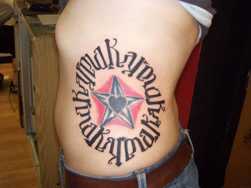 inspiring red and gray color ink rib tattoo of ambigram text for boys