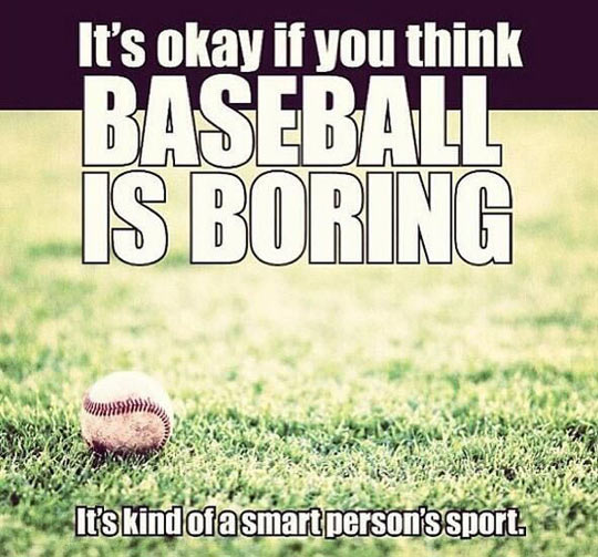 it's okay if you think baseball is boring it's kind of a smart person's sport.
