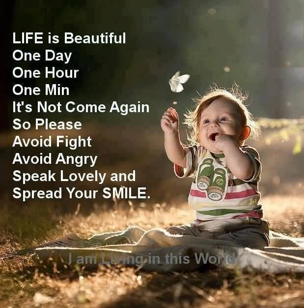 Life Is Beautiful One Day One Hour One Min Its Not Come Again So Please Avoid Fight Avoid Angry Speak Lovely And Speak You Smile I Am Living In This World
