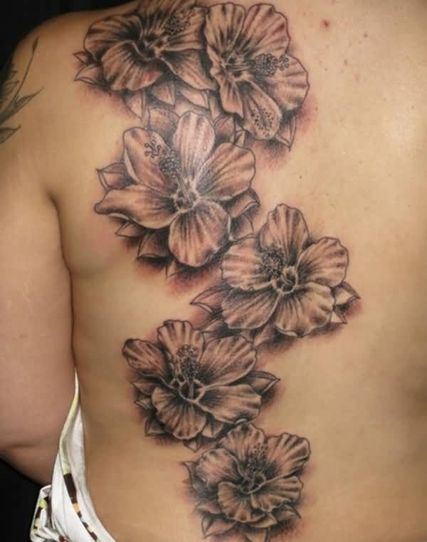 love able Hibiscus tattoo on back With Black ink For Man And Woman