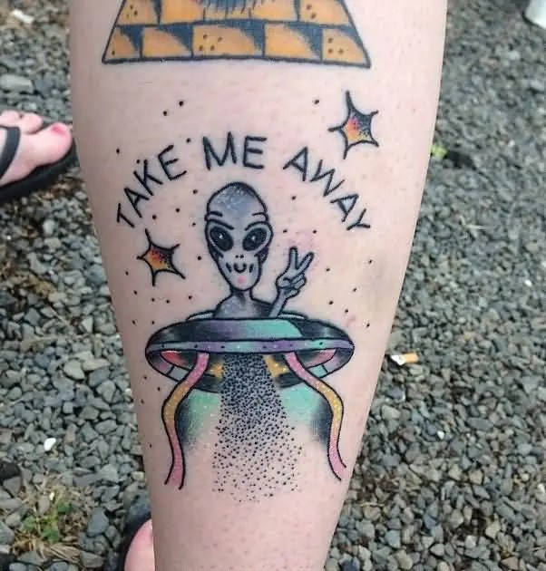 lovely blue color ink Alien And Ufo Tattoo for only girls