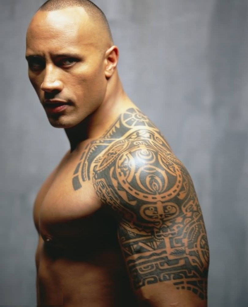 Maori Gray Ink Tribal Tattoo On Rock Body