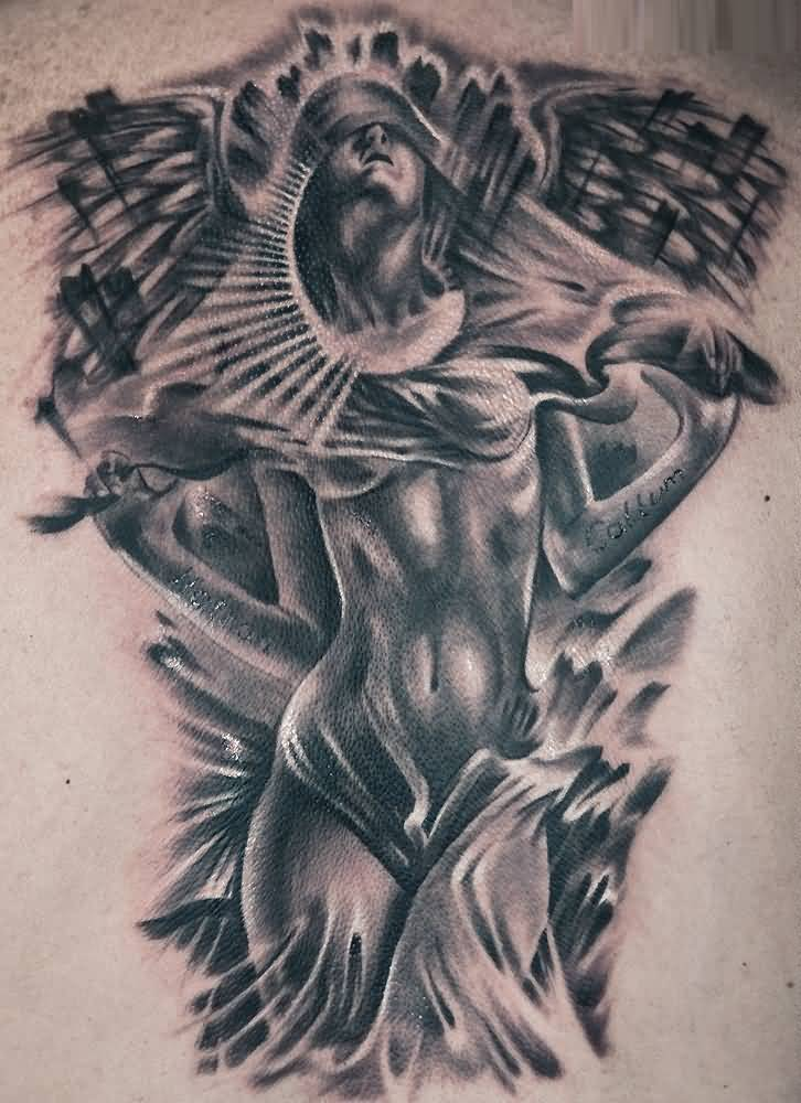 marvelous black color ink Angel Tattoos on girl 's ribs side made by expert