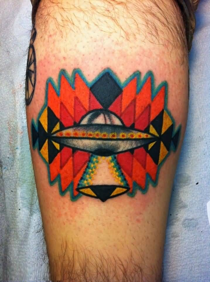 Marvelous Red And Yellow Color Ink Alien Ufo Tattoo On Man Leg For Man Tattoo