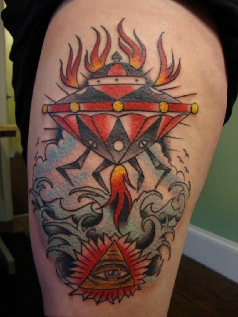 marvelous red and yellow color ink Ufo And Pyramid Tattoo for boys