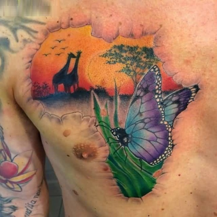 Mind Blowing African Map Tattoo Made On Cracked Skin For Man Is Chest