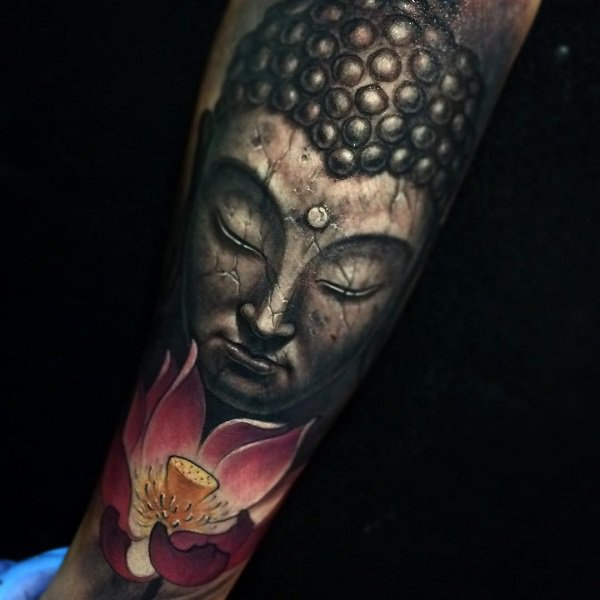 Most Amazing Buddha Portrait And Louts Tattoo With Colourful Ink For Woman Man
