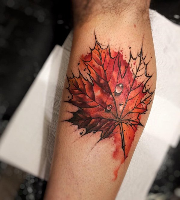 Most Amazing Leaf Calf Tattoo With Colourful Ink For Man Woman