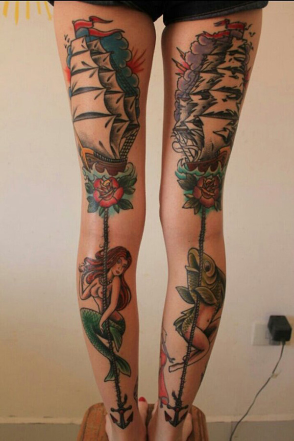 Most Amazing Mermaid Anchor Tattoo On Leg With Colorful Ink For Woman