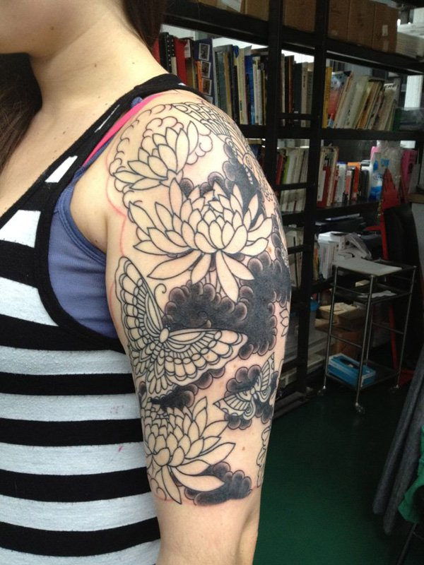 most amazing chrysanthemum half sleeve tattoo on arm With black ink For Man And Woma