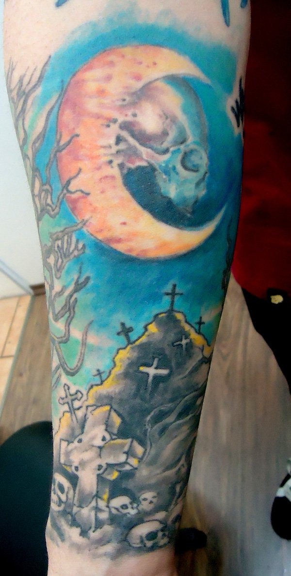 Most Amazing Moon Tattoo On Arm With Colorful Ink For Man Woman
