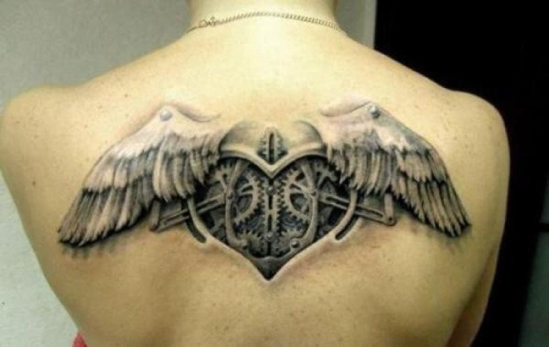 Most Amazing Steampunk Angel Wings Tattoo On Back With Black Ink For Man And Woman