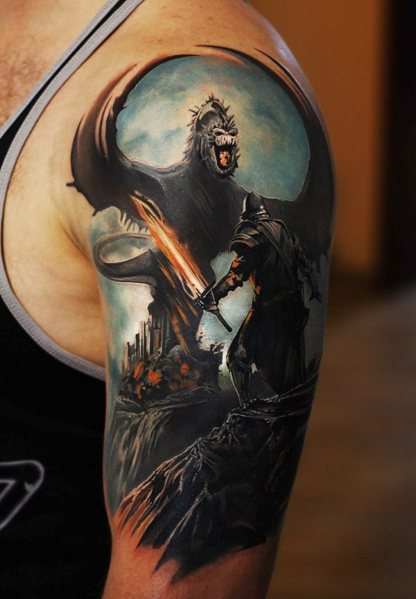 Most Amazing Warrior Tattoo On Shoulder With Colorful Ink For Women And Man