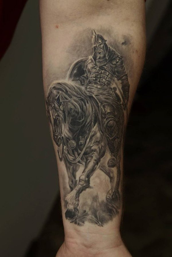 Most Amazing Warrior Tattoo On Wrist With Black Ink For Women And Man