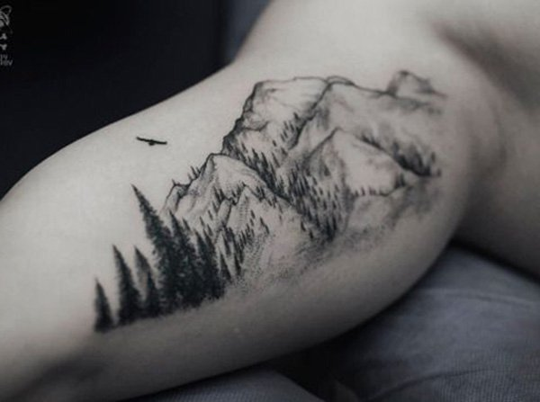 most attractive mountain tattoo on hand With Black ink For Man And Woman