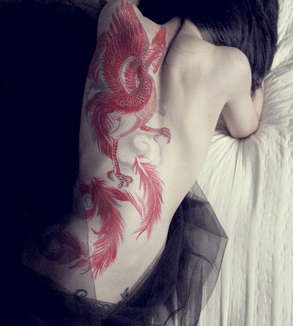 Most Cute Phoenix Tattoo For Women On Back