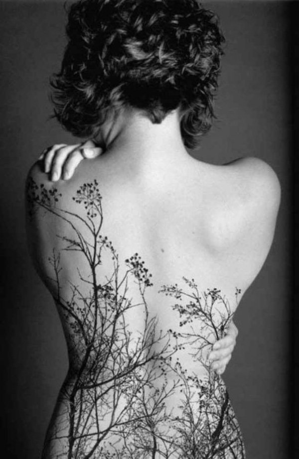 most cute forest back tattoo o back With Black ink For Man And Woman