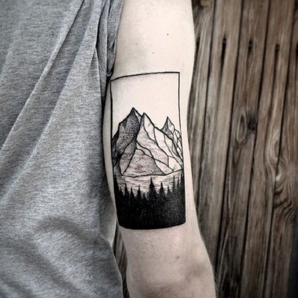 most cute mountain tattoo on hnad With Black ink For Man And Woman