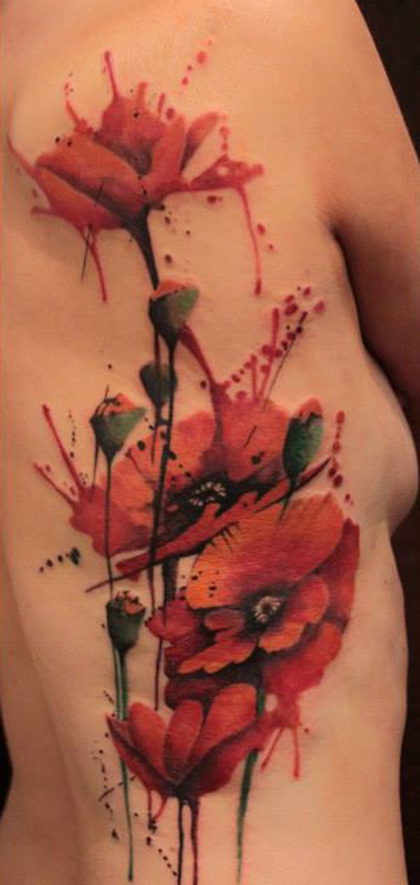 most dashing Watercolor Poppy Tattoo on side With colourful ink For Man And Woman