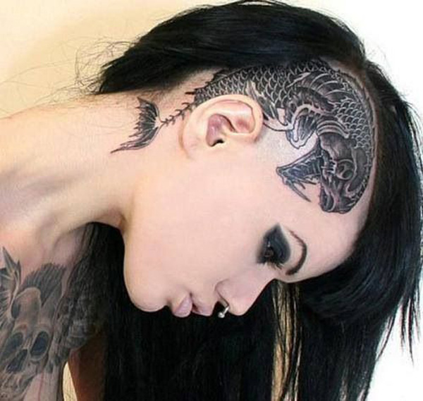 most dashing tattoo on the head With Black ink For Man And Woman Tattoos on Head