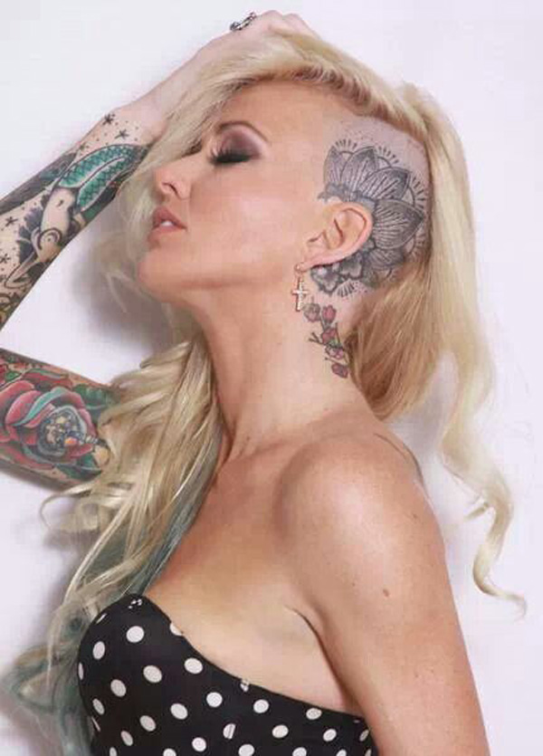 most fantastic tattoo on the head for women With Black ink For Man And Woman