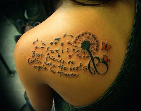 most incredible Dandelion Tattoos on back With Black ink For Man And Woman