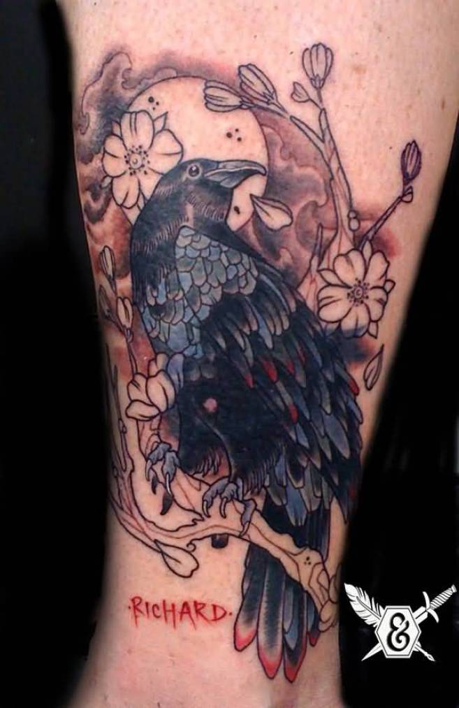 most incredible Raven and Flower Tattoo on wrist with Black ink For Man And Woman