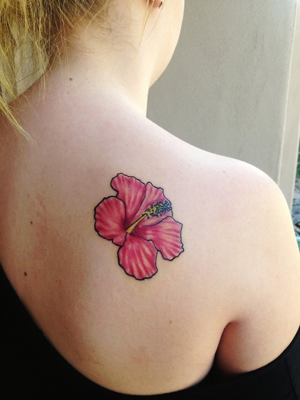 most inspirational Hibiscus tattoo on back With colourful ink For Man And Woman