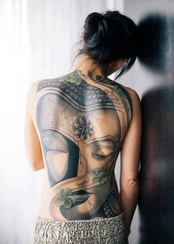 Most Trending Buddha Portrait Full Back Tatoo With Black Ink For Woman Man