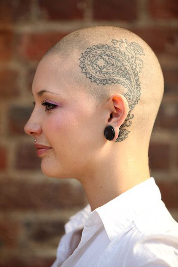 most tremendous tattoo on the head With Black ink For Man And Woman