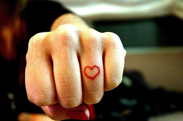 Most Trending Heart Tattoo On Finger With Red Ink For Man And Woman
