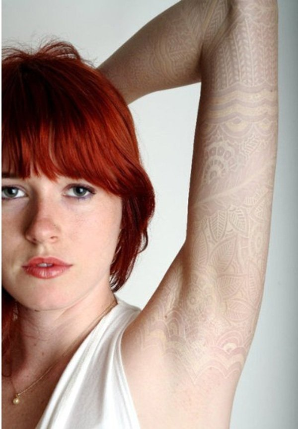 most trending full sleeve design of tattoos white ink on arm With white ink For Man And Woman