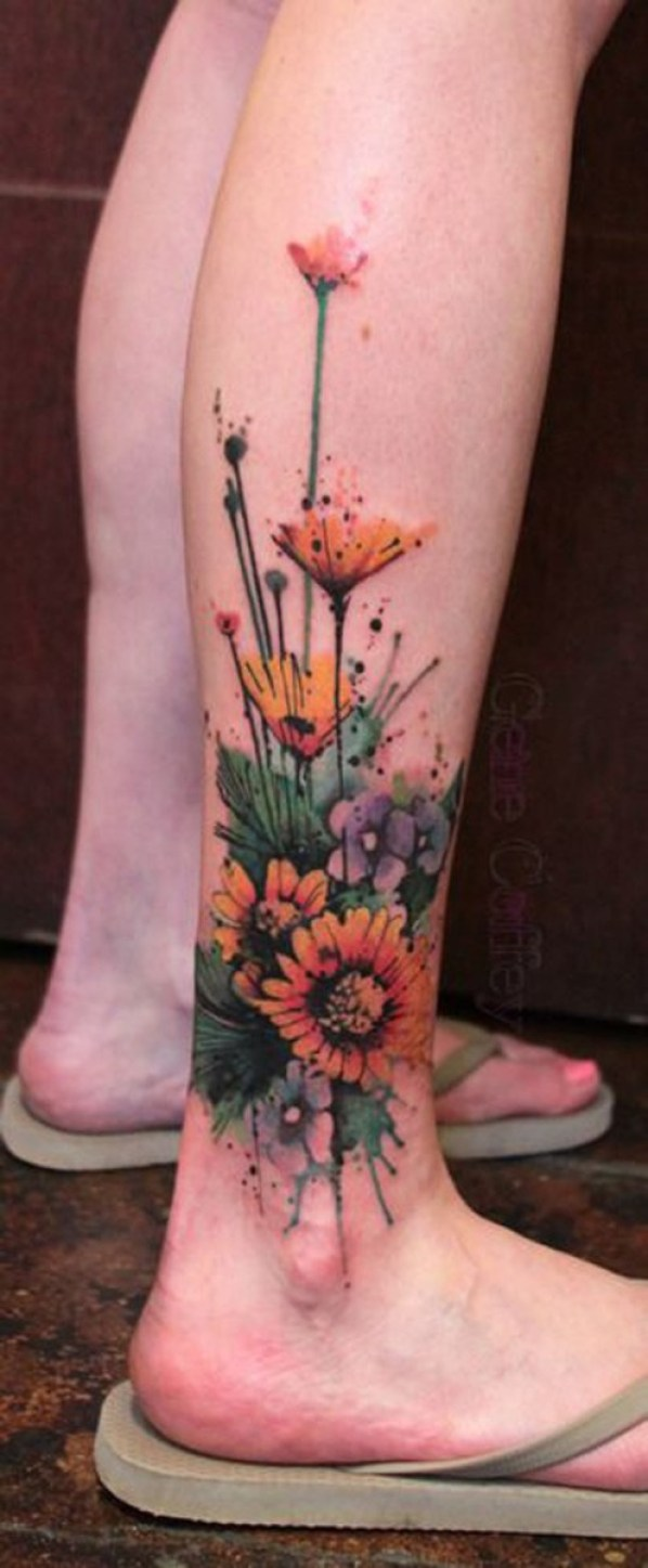 Most Trending Watercolor Flower Calf Tattoo With Colourful Ink For Man Woman
