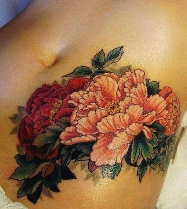 most wonderful Peony tattoo on stomach With colourful ink For Man And Woman