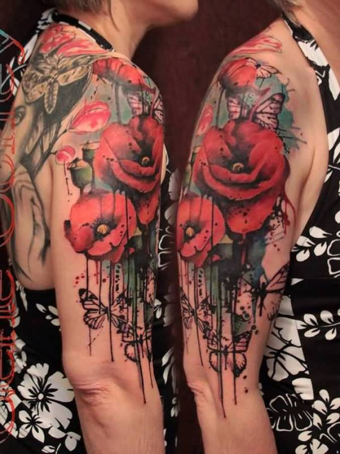 most wonderful Watercolor Poppy Tattoo on Half Sleeve With colourful ink For Man And Woman
