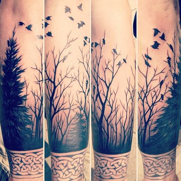 most wonderful forest and birds forearm tattoo on arm With Black ink For Man And Woman