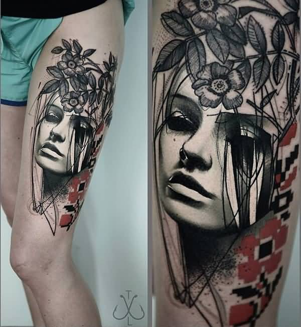 most wonderful portrait and flower thigh tattoo on thigh With colourful ink For Man And Woma