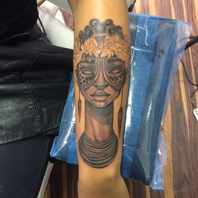 Motivational Light Red Color Ink Best Mask Tatto Of African Girl For Girls