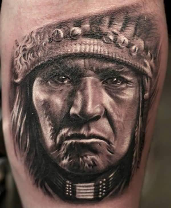 Nice Native American Tattoo With Black Ink For Man & Woman
