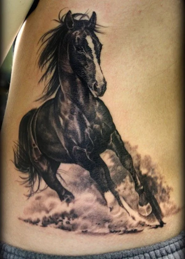 Nice Black And White Horse Tattoo On Side With Black Ink For Women And Man